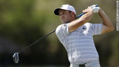 Sergio Garcia of Spain plays his shot on the 16th tee in his match against Matt Wallace of England during the third round of the World Golf Championships-Dell Technologies Match Play at Austin Country Club on March 26, 2021 in Austin, Texas.