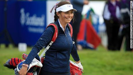 Pano leaves the first tee in the Junior Solheim Cup.