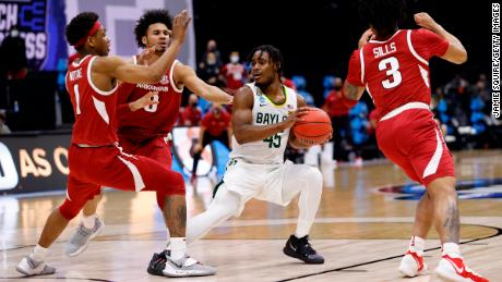"""Baylor's Davion Mitchell, who scored 12 against Arkansas Monday, is a """"nightmare to bring the ball up against,"""" his coach said."""