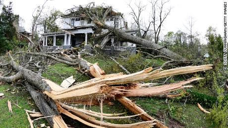 A tornado damaged a home in Historic Newnan on March 26, 2021.