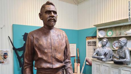 A statue of Aboriginal cricket legend Johnny Mullagh in the Harrow Discovery Center in Harrow, Australia.