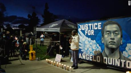 Not long after sitting in court to seek justice for her grandson, Addie Kitchen addressed a candlelight vigil for Angelo Quinto, who died after a confrontation with police.