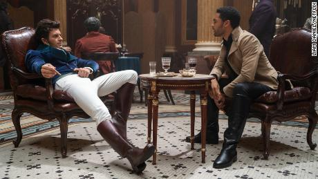 """(From left) Jonathan Bailey as Anthony Bridgerton and Regé-Jean Page as Simon Basset are shown in the first season of """"Bridgerton."""""""