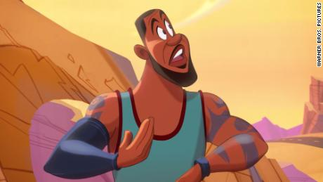 "Lebron James as a Looney Tunes-style character in ""Space Jam: A New Legacy."""