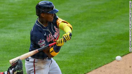 Atlanta Braves right fielder Ronald Acuna Jr. at bat during a game against the Philadelphia Phillies, on April 1, 2021, in Philadelphia.