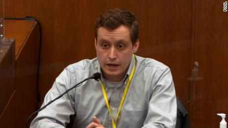 Dr. Bradford Wankhede Langenfeld, an emergency physician at Hennepin County Medical Center who provided treatment to George Floyd, testifies on April 5, 2021.