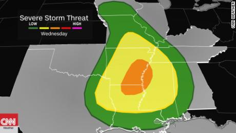 Severe storm threat level raised for the South