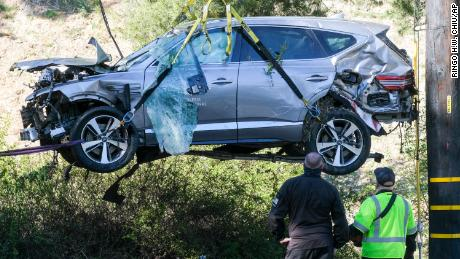 The SUV Tiger Woods was driving hit a tree and flipped over.
