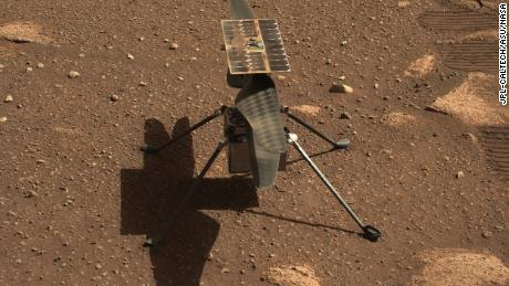 The Ingenuity Mars helicopter is seen here in a close-up taken by Mastcam-Z, a pair of zoomable cameras aboard the Perseverance rover.