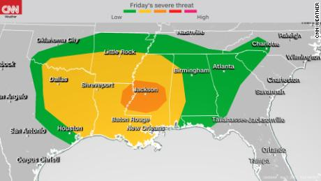 30 million people in the South threatened by severe weather