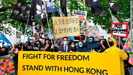 Hong Kong democracy activist Nathan Law (C) takes part in a demonstration on September 1, 2020 in Berlin, Germany.