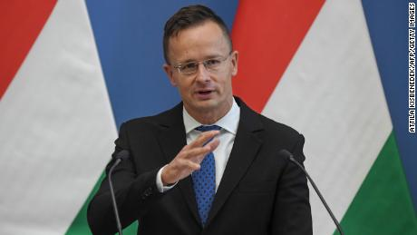 Hungary & # 39; s Foreign and Trade Minister Peter Szijjarto speaks during a joint press conference in 2020.