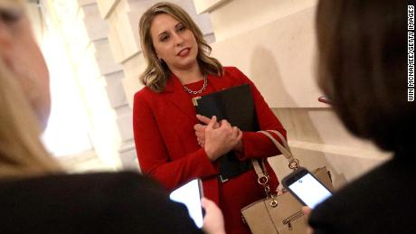 Rep. Katie Hill (D-CA) answers questions from reporters at the U.S. Capitol following her final speech on the floor of the House of Representatives October 31, 2019.