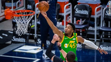 Jazz guard Donovan Mitchell scored a game high 37 to beat the Portland Trail Blazers.