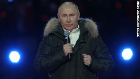 Russian President Vladimir Putin during a concert in Moscow on the seventh anniversary of the annexation of Crimea on March 18.