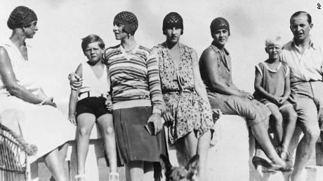 This photo from September 1928 was taken during a family vacation in Mamaia, Romania. It features, from left, Princess Fedora of Greece, King Michael and his mother Princess Helene, Princess Irene, Princess Marguerite, Prince Philip and Prince Paul.