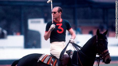 Prince Philip plays polo in 1970.