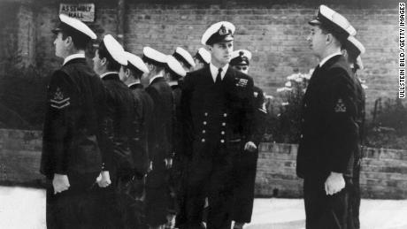 Philip inspects soldiers of the naval school in Corsham, England, circa 1946.
