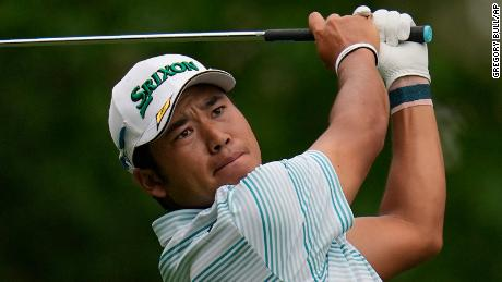 Matsuyama starts in the third round of the Masters on the fourth hole.