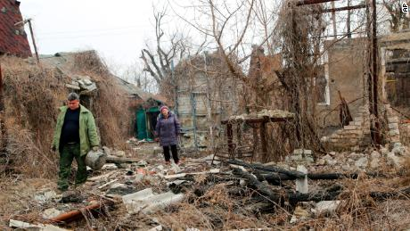 Residents are returning to search for belongings in their destroyed home near a front line in eastern Ukraine earlier this month.