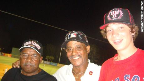 Former Negro League players Russell Patterson and James Atterbury along with Cam Perron at Myrtle Beach Pelicans minor league game in August 2010.