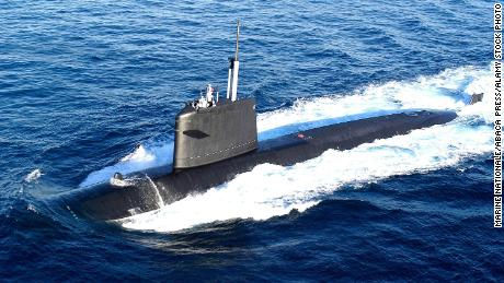 The French submarine Saphir can be seen in this file photo from August 15, 2004.