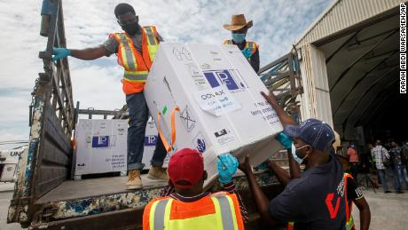 Boxes of the AstraZeneca vaccine, manufactured by the Serum Institute of India and provided through the COVAX global initiative, arrive in Mogadishu, Somalia on March 15.