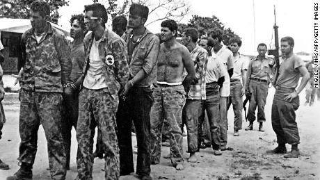 This April 1961 file photo shows a group of Cuban counter-revolutionaries, members of Assault Brigade 2506, after their capture in the Bay of Pigs, Cuba.