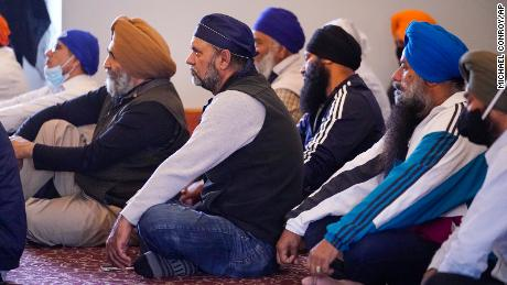 Members of the Sikh Coalition gather at the Sikh Satsang of Indianapolis on Saturday, April 17, to formulate the group's response to the shooting at a FedEx facility that claimed the lives of four members of the Sikh community.