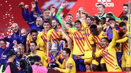 Barcelona players celebrate winning the Copa del Rey.