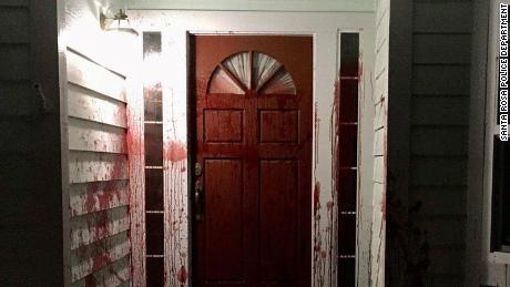 Pig's blood was smeared on the front porch of a Santa Rosa, California, home on Saturday, April 17, 2021.