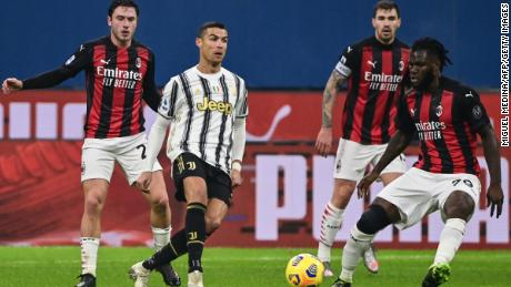 Juventus' Portuguese forward Cristiano Ronaldo in action against AC Milan.
