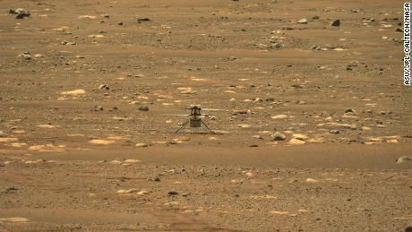 The rover captured this view of the helicopter from Mastcam-Z, a pair of zoomable cameras, afer it safely touched back down on the Martian surface postflight.