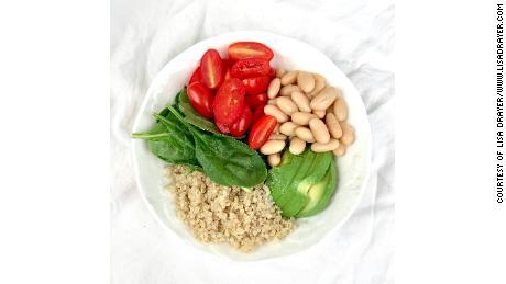 White bean tomato avocado bowl.