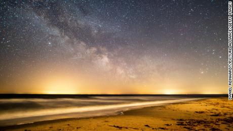The view of the starry sky shining over the Baltic Sea, when the Lyrids passed through in 2020.