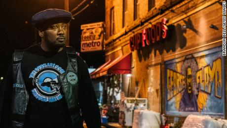 Fred Hampton Jr. on April 5 walks through the community where George Floyd was shot.