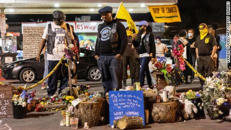 Fred Hampton Jr. visits George Floyd Square in Minneapolis earlier this month.