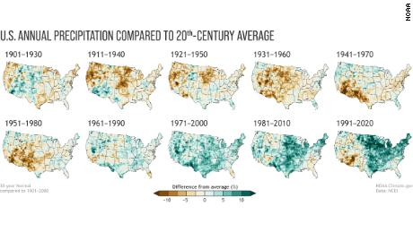 Normal annual US precipitation as a percent of the 20th-century average for each US climate normals period from 1901-1930 (upper left) to 1991-2020 (lower right). Places where the normal annual precipitation was much drier than the 20th-century average are darkest brown; places where normal annual precipitation was much wetter are darkest green. (NOAA Climate.gov, based on analysis by Jared Rennie, North Carolina Institute for Climate Studies/NCEI)