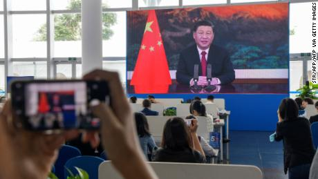 Chinese President Xi Jinping delivers a speech by video link during the Boao Forum for Asia in south China's Hainan province on April 20.