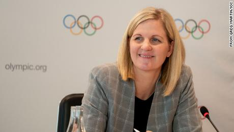IOC Athletes' Commission chair Kirsty Coventry hosts a press conference in Olympic House focusing on the commission and Rule 50.