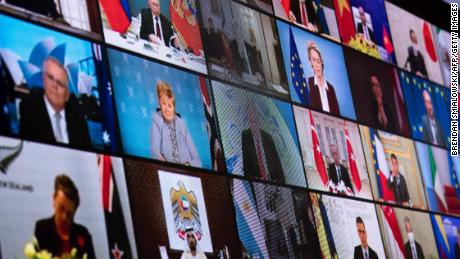 World leaders take part in a US climate summit on April 22, 2021.