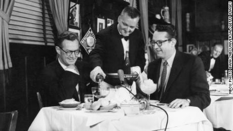 Sylvester 'Pat' Weaver (left) and host Steve Allen broadcast from the Blue Ribbon Restaurant.