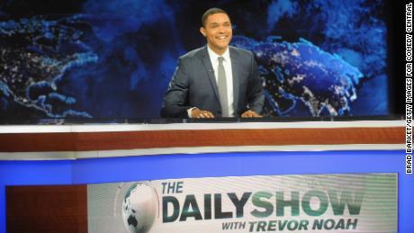 "Trevor Noah hosts Comedy Central's ""The Daily Show with Trevor Noah"" premiere on September 28, 2015."