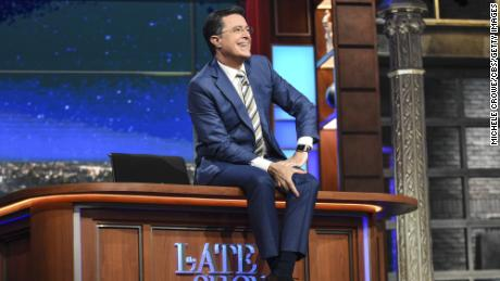 """Stephen Colbert during a taping of """"The Late Show with Stephen Colbert"""" on June 20, 2016."""