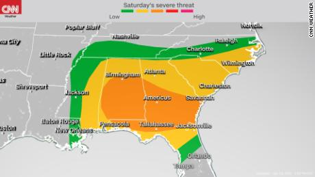 Storm Prediction Center's severe weather outlook Saturday into Saturday night