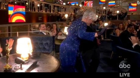 "In this video image provided by ABC, Lil Rel Howery reacts as Glenn Close (foreground) dances to E.U.'s ""Da Butt"" at the Oscars on April 25."