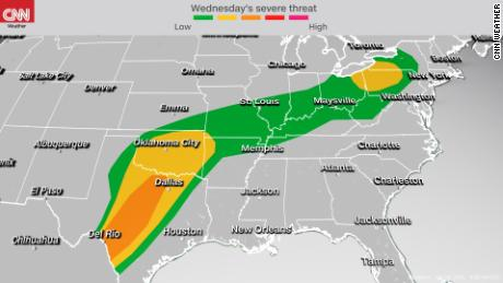 Storm Prediction Center's severe weather outlook Wednesday into Wednesday night
