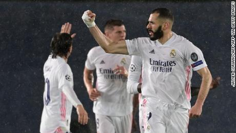 Karim Benzema celebrates after scoring the equalizer.