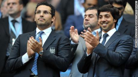 Manchester City owner Sheikh Mansour with chairman Khaldoon Al Mubarak (left).