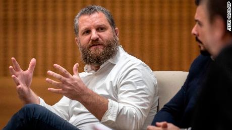 In this photo provided by the Diario de Navarra, Spanish journalist David Beriain speaks in Pamplona, Spain in December 2019.